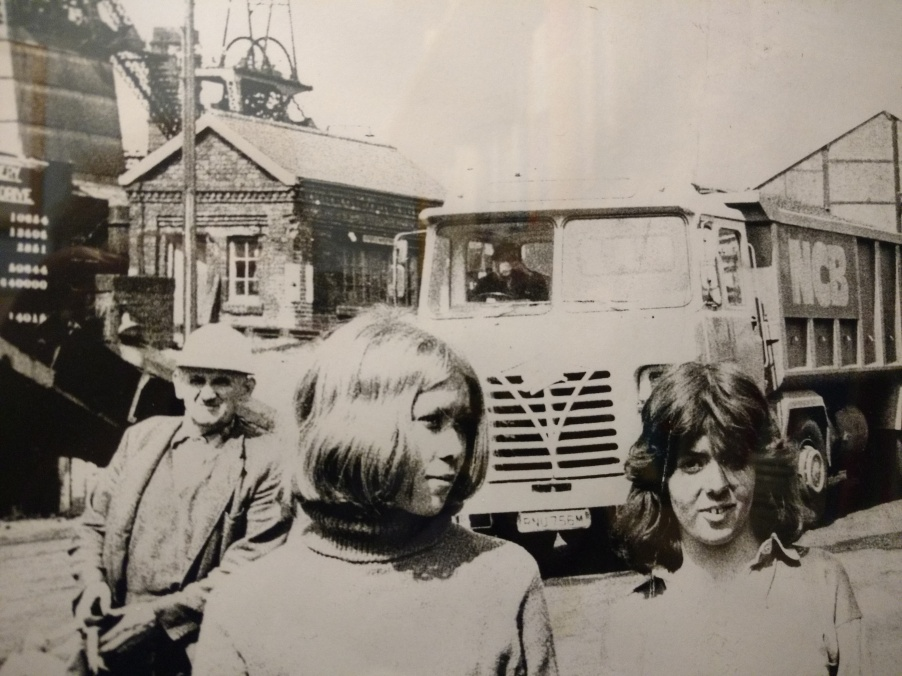 A miner, Sofka and Sarah outside a colliery circa 1971.jpg